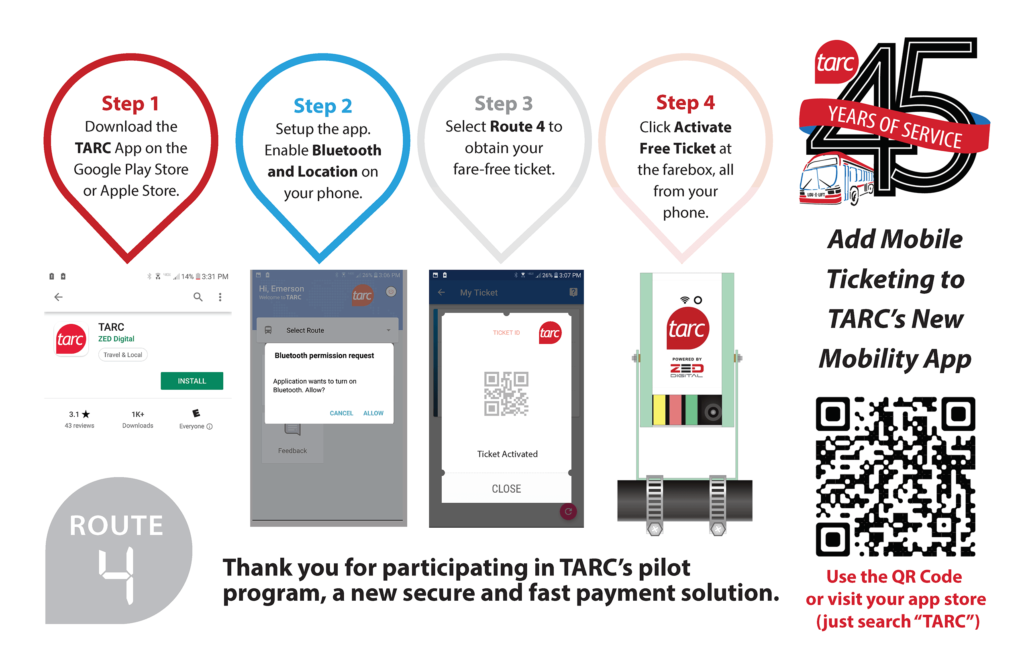 TARC Mobile Ticket Pilot Program